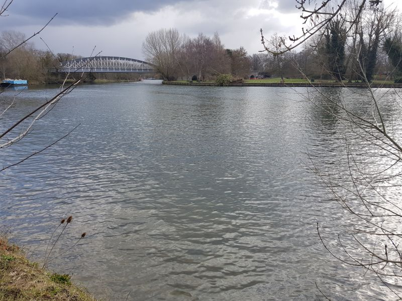 River Thames at Windsor with view of railway bridge