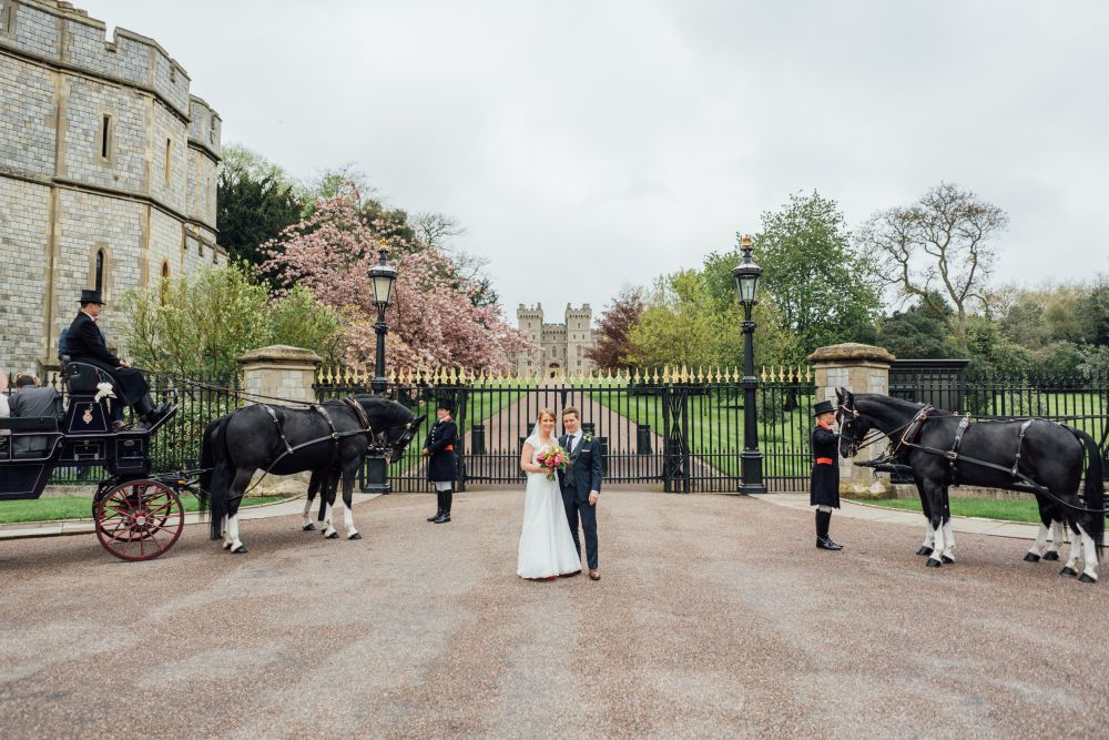 Wedding couple outside Windsor Castle