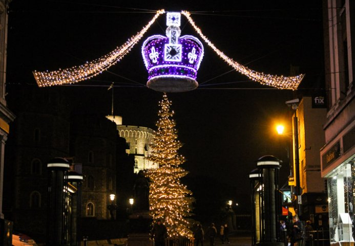 The Christmas lights down Peascod Street (the pedestrianised shopping road  off the High Street) have some rather incredible lights in the shape of a  crown ... - Why I Love Windsor At Christmas - Windsor