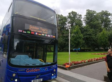 Golden Tours open top tour bus