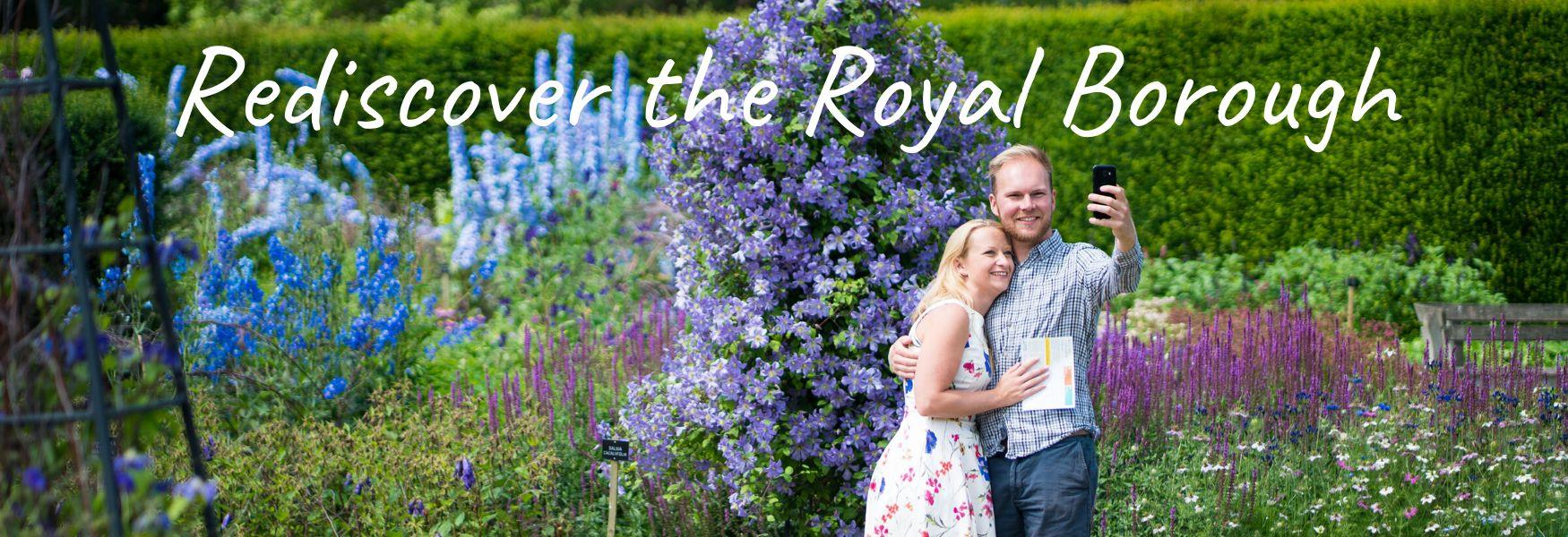 Two people at The Savill Garden, Windsor Great Park.  Rediscover the Royal Borough