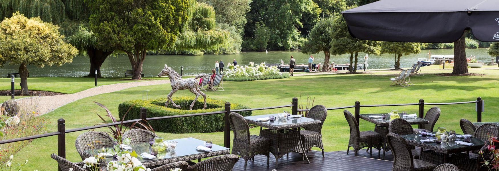 River views from The Oakley Court's terrace restaurant