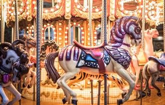 A Taste of Christmas at Windsor Great Park: vintage carousel at The Savill Building
