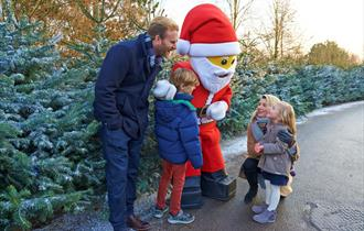 Family meeting Father Christmas at LEGOLAND Windsor at Christmas