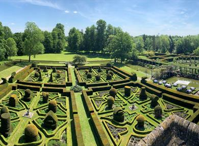 View from the gardens from the tower at Great Fosters