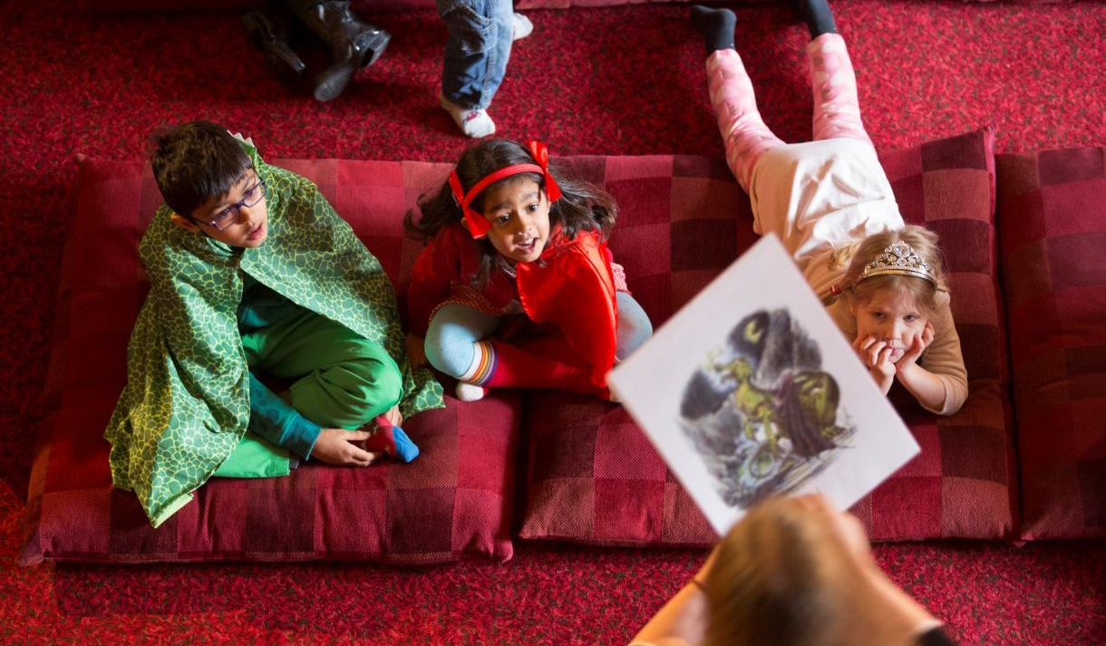 World Book Day at Windsor Castle: children listening to story telling