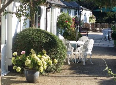 Patio outside Sheephouse Manor Cottages